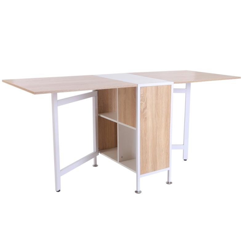 HOMCOM Foldable Drop Leaf Table with Storage Shelves-Oak/White Colour