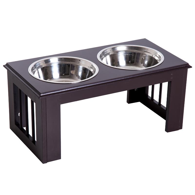 Pawhut Stainless Steel Pet Feeder , 58.4Lx30.5Wx25.4H cm-Brown