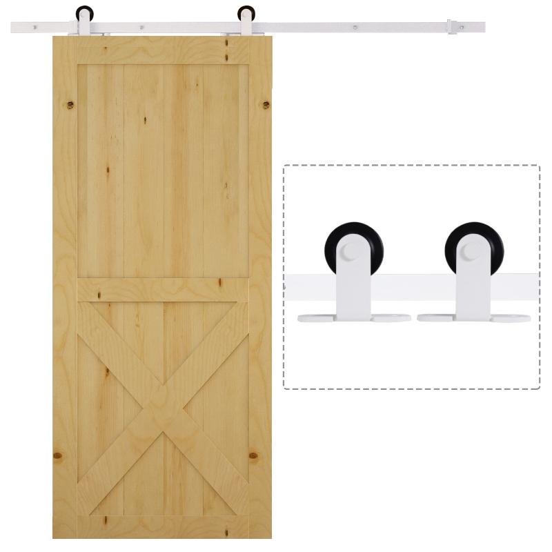 HOMCOM 6ft Modern Carbon Steel Sliding Door Track Kit White
