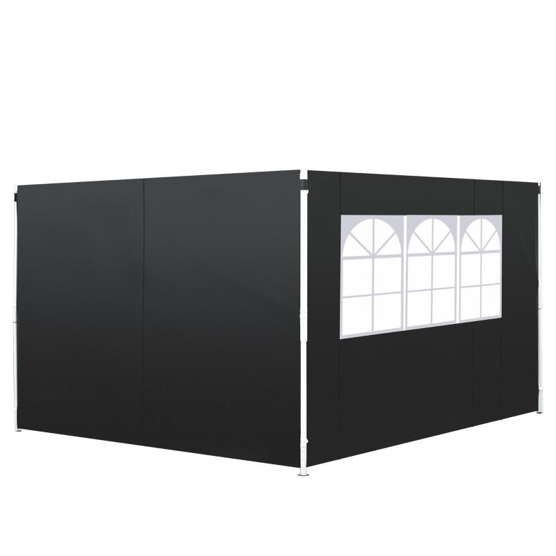 Outsunny 3m Gazebo Exchangeable Side Panels Wall W/ Window-Black