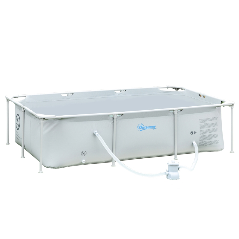 Outsunny Steel Frame Swimming Pool w/ Filter Pump and Reinforced Sidewalls Rust Resistant