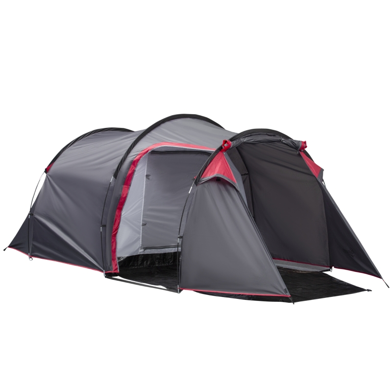 Outsunny Dome Tent for 3-4 Person Family Tent with Screened-In Porch Waterproof Dark Grey