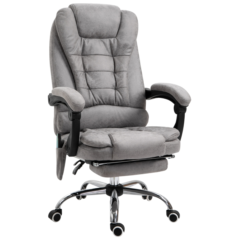 Vinsetto Distressed Leather-Look 6-Point Massage Office Chair Grey
