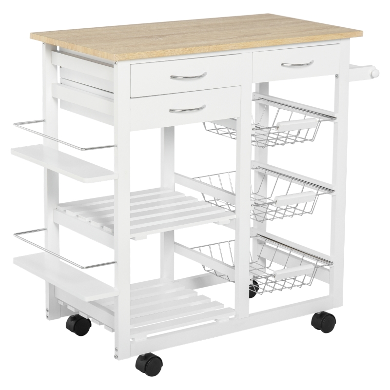 HOMCOM Serving Cart Kitchen Island Mobile Utility Cart with Spice Racks Drawers