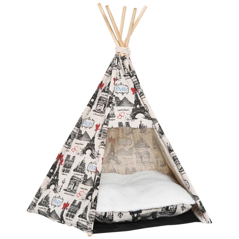 PawHut Portable Pet Teepee Tent Foldable Cat Bed Dog House Kennels Washable Cushion