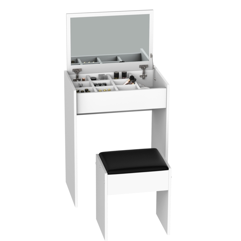 HOMCOM Dressing Table Set with Flip-up Mirror and Stool-White