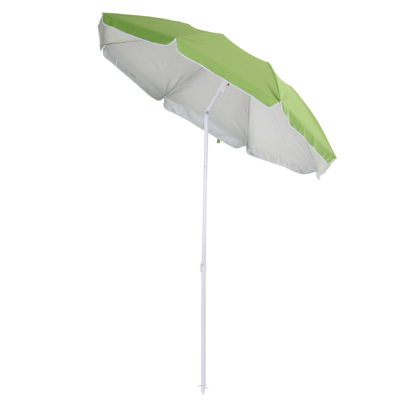 Outsunny 1.7m x 2m Tilted Steel Frame Beach Parasol Green