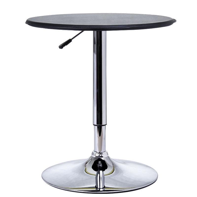 HOMCOM Chrome Steel Height Adjustable Round Bar Table Black