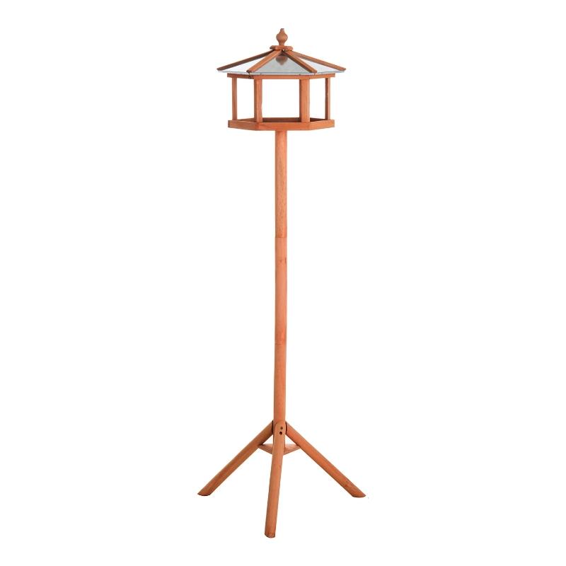 PawHut Wooden Freestanding Garden Bird Feeder Wood Tone