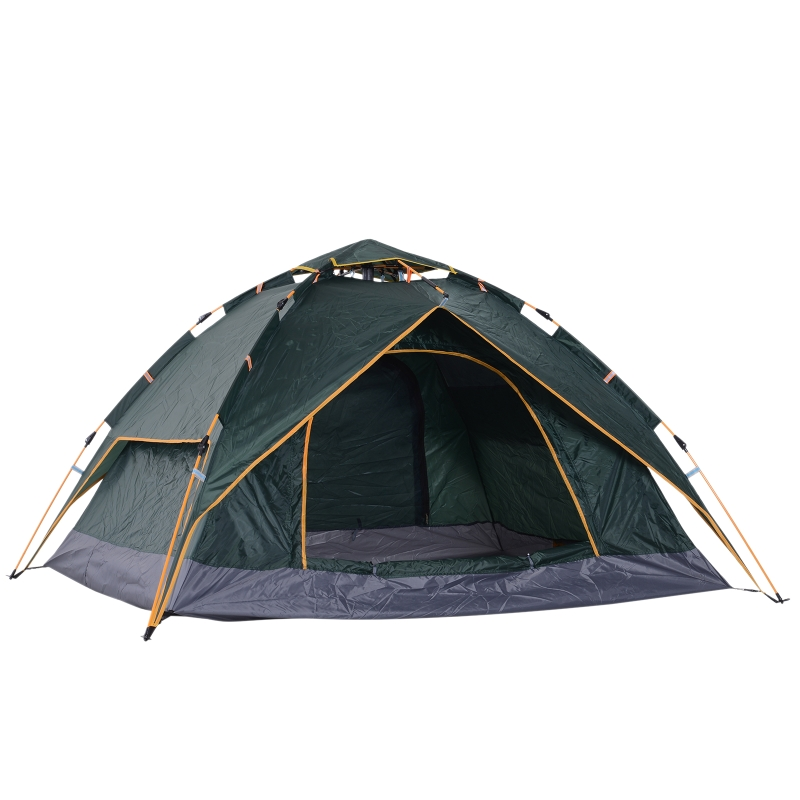 Outsunny Three Man Pop Up Tent Camping Festival Hiking Family Travel Shelter Portable