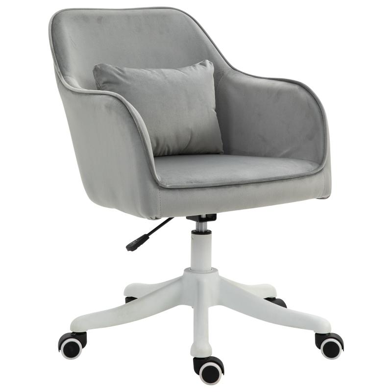 Vinsetto Faux Velvet Tub Office Chair w/ Pillow Grey