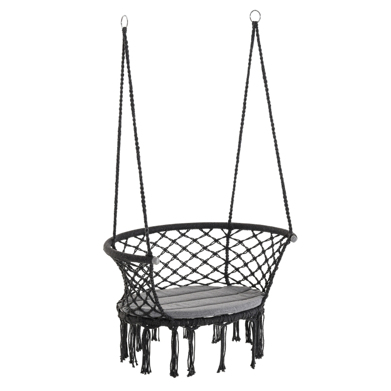 Outsunny Hammock Chair Cotton Rope Porch with Cushion for Indoor Outdoor Using