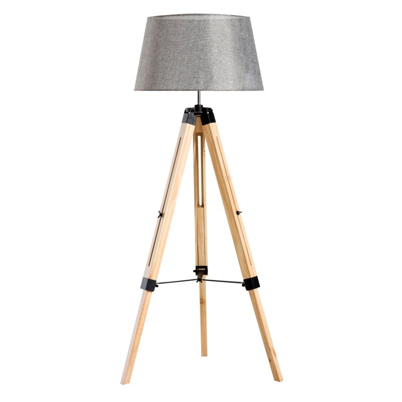HOMCOM Classic Tripod  Floor Lamp, Adjustable Height-Grey