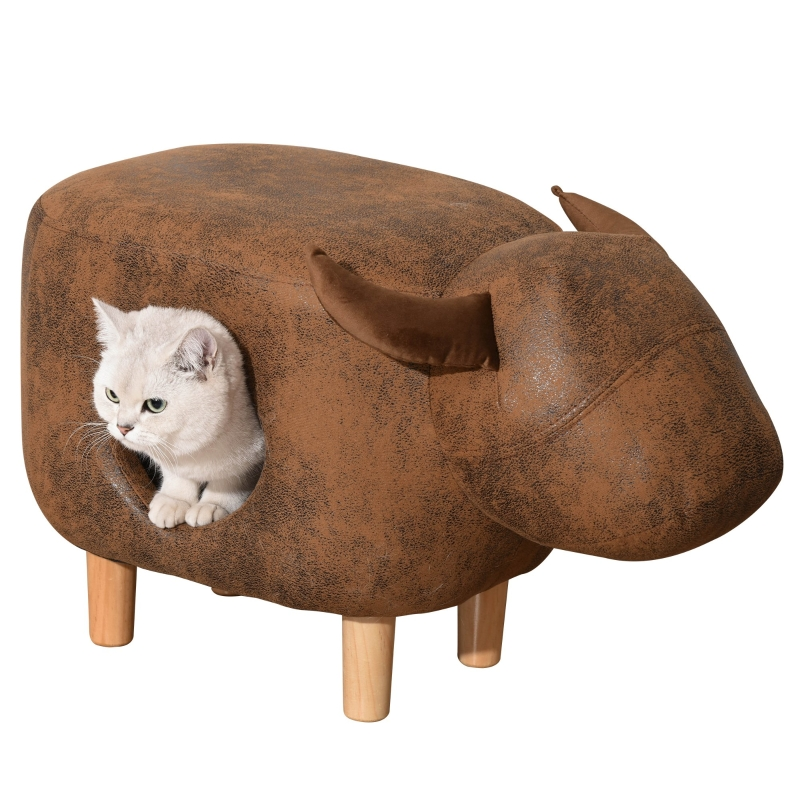 PawHut Pet House Ottoman Cat Bed Footstools Indoor Condo with Cushion, Brown