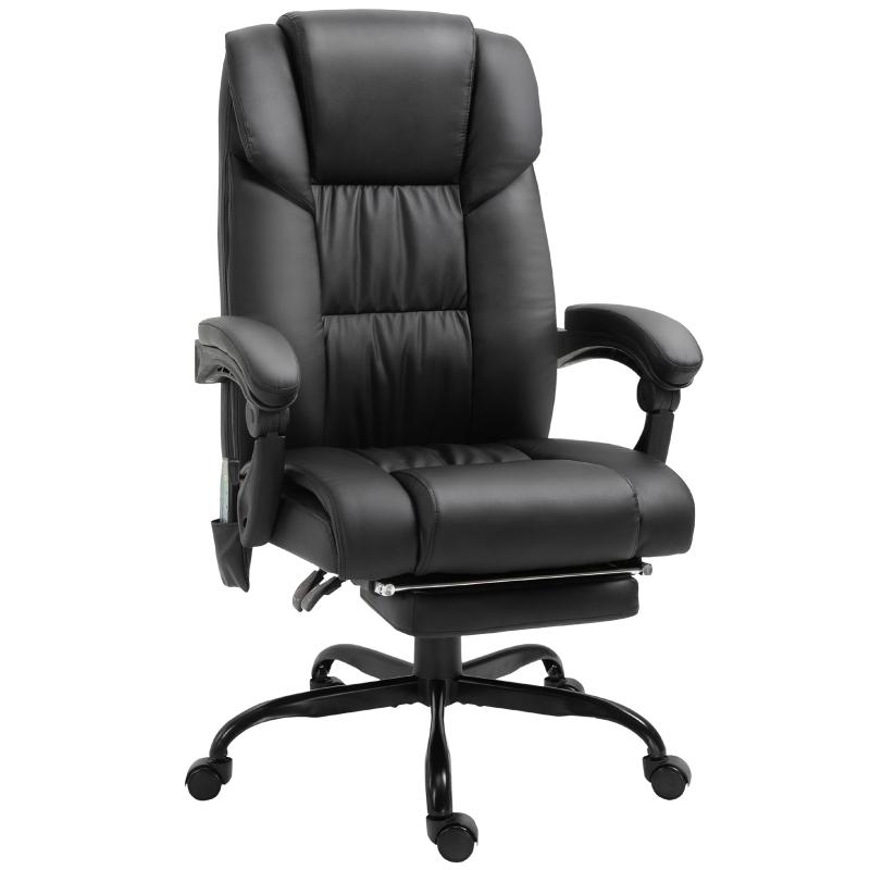 Vinsetto PU Leather 6-Point Massage Desk Chair w/ Remote Black