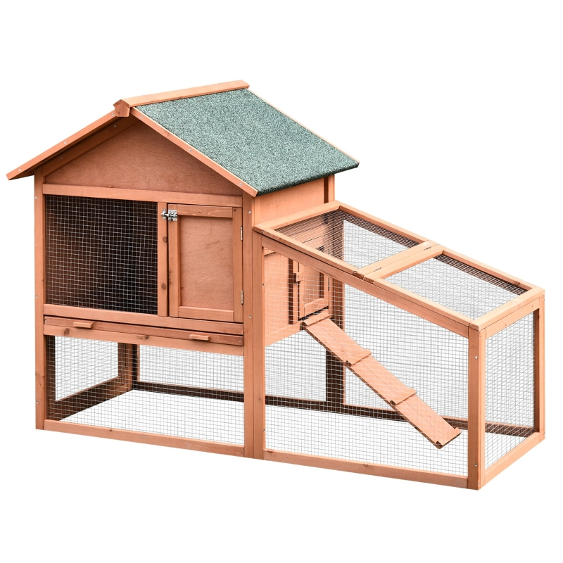 PawHut Small Animal Two-Level Fir Wood Hutch w/ Slide Out Tray Red/Brown