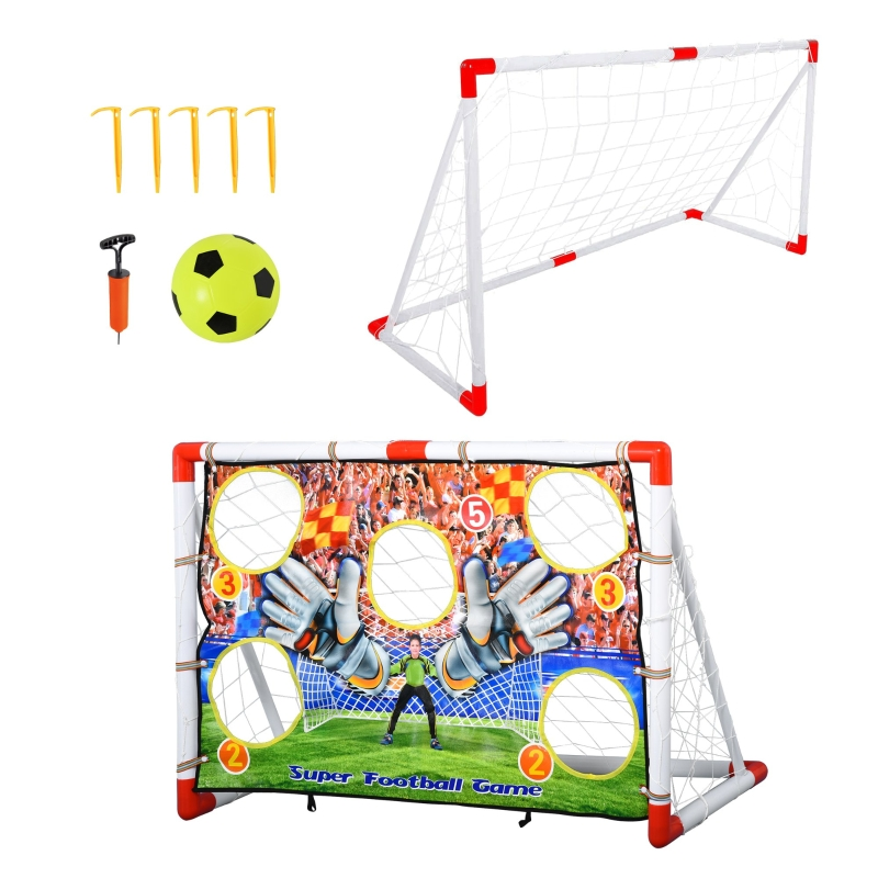 HOMCOM Football Goal Portable Indoor Outdoor with All Weather Net Kids Adults