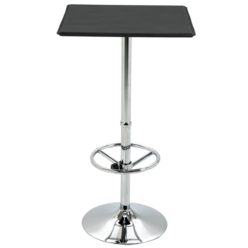 HOMCOM Square Pub Table Counter Bar Table Faux Leather Tabletop Adjustable Footrest