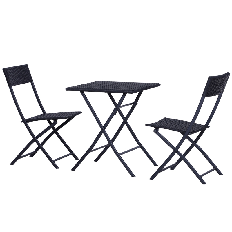 Outsunny 3pc Rattan Furniture Set :2xChairs,1xTable-Black
