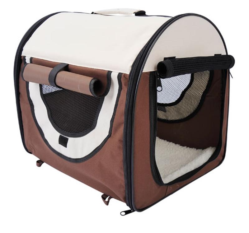 Pawhut Folding Fabric Soft Pet Crate, 46Lx36Wx41H cm-Brown
