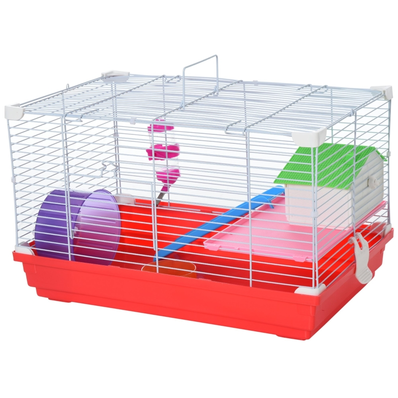PawHut Dwarf Hamster Metal Cage w/ Tunnels Blue