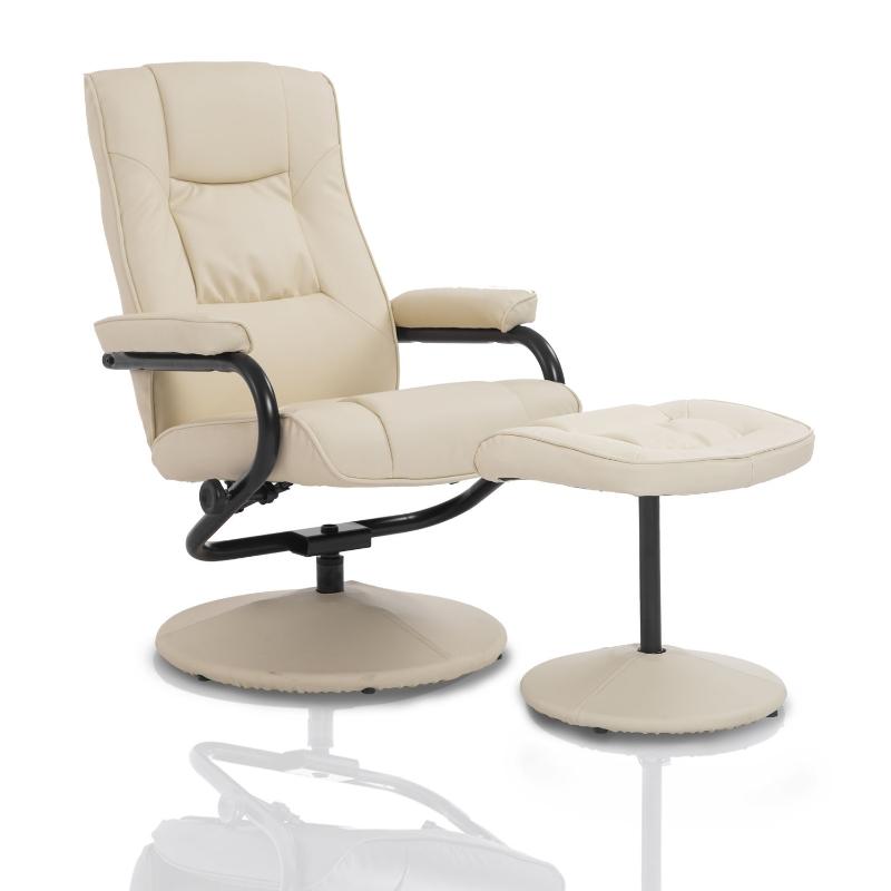 HOMCOM PVC Reclining Executive Chair w/ Footrest Stool Cream