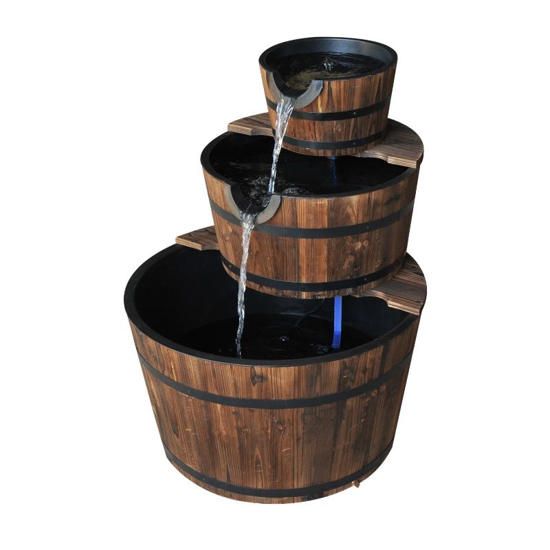 Outsunny Wooden Water Pump Fountain, 3 Tier-Fir Wood/Steel