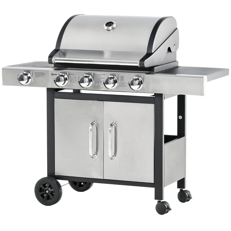 Outsunny Deluxe Gas Barbecue Grill 4+1 Burner Garden BBQ Large Cooking Area Side Burner