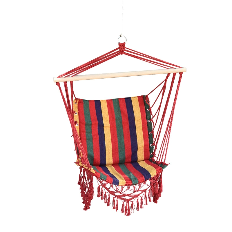 Outsunny Hammock Chair, 100Lx60Wx100H cm, Cotton/Polyester-Multicolour