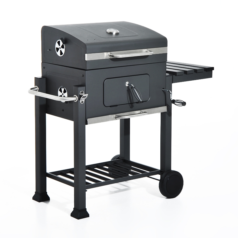 Outsunny Portable Charcoal BBQ Grill W/ Shelf and Wheels-Grey