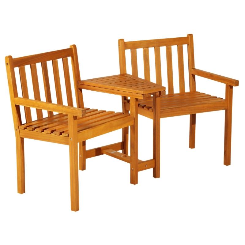 Outsunny Acacia Wood 2-Seater Outdoor Garden Armchair Bench w/ Table