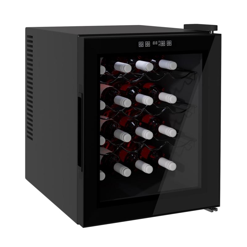 HOMCOM 16-Bottle Tempered Glass Mini Bar Cooler w/ LED Light Black