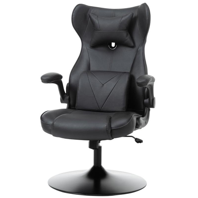 Fotel gamingowy fotel komputerowy poduszka lędźwiowa regulowana wysokość metal czarny