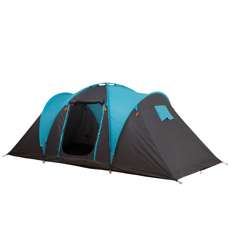 Outsunny 4-Person Outdoor Steel Frame Camping Tent Blue