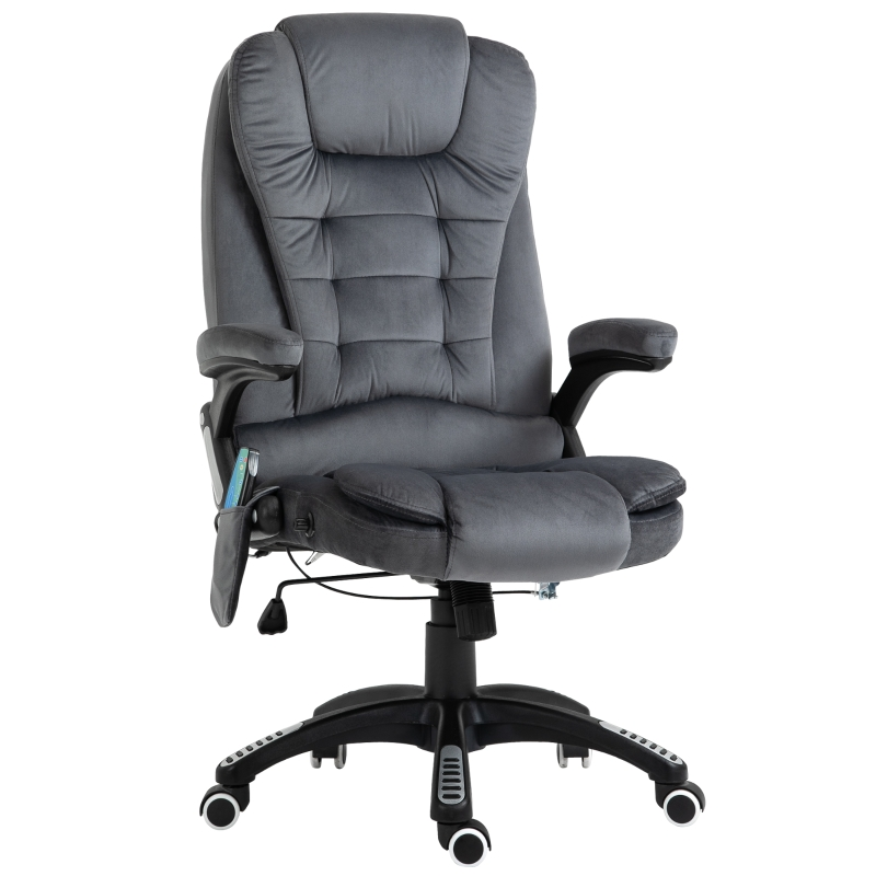 Vinsetto Faux Velvet Reclining Heated Massage Office Chair Grey