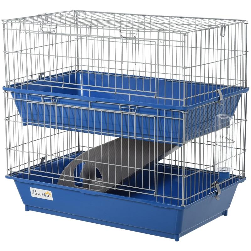 PawHut Metal 2-Tier Small Animal Cage Blue