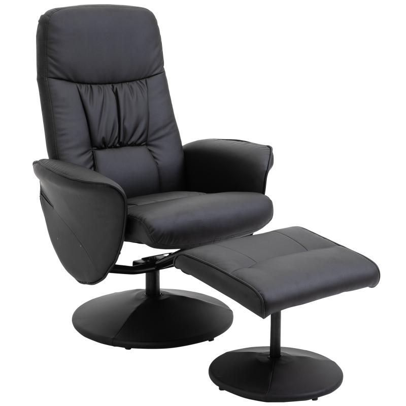 HOMCOM PU Leather Recliner Armchair & Footrest 2 Pcs Duo Set Black