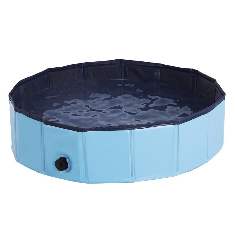 PawHut Pet Swimming Pool, Foldable, 80 cm Diameter-Blue