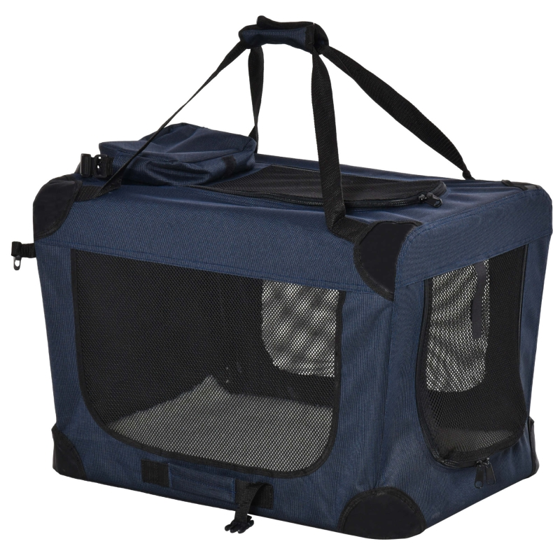 PawHut Folding Pet Carrier Bag Soft Portable Cat Puppy Cage with Cushion Storage Bag