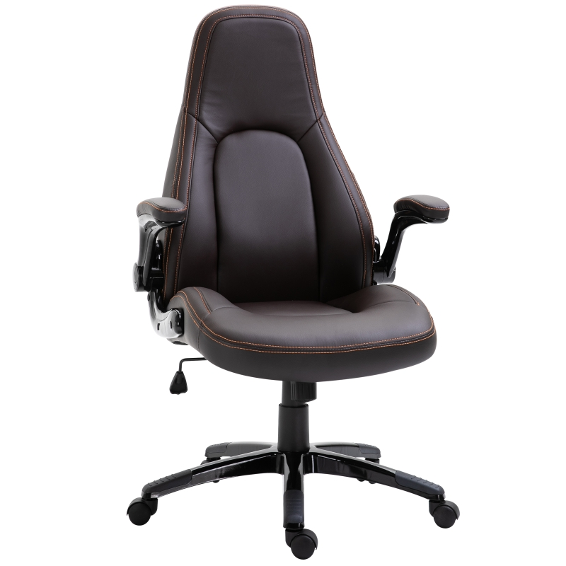 Vinsetto PU Leather Home Office Chair Ergonomic w/Contrast Stitching Brown