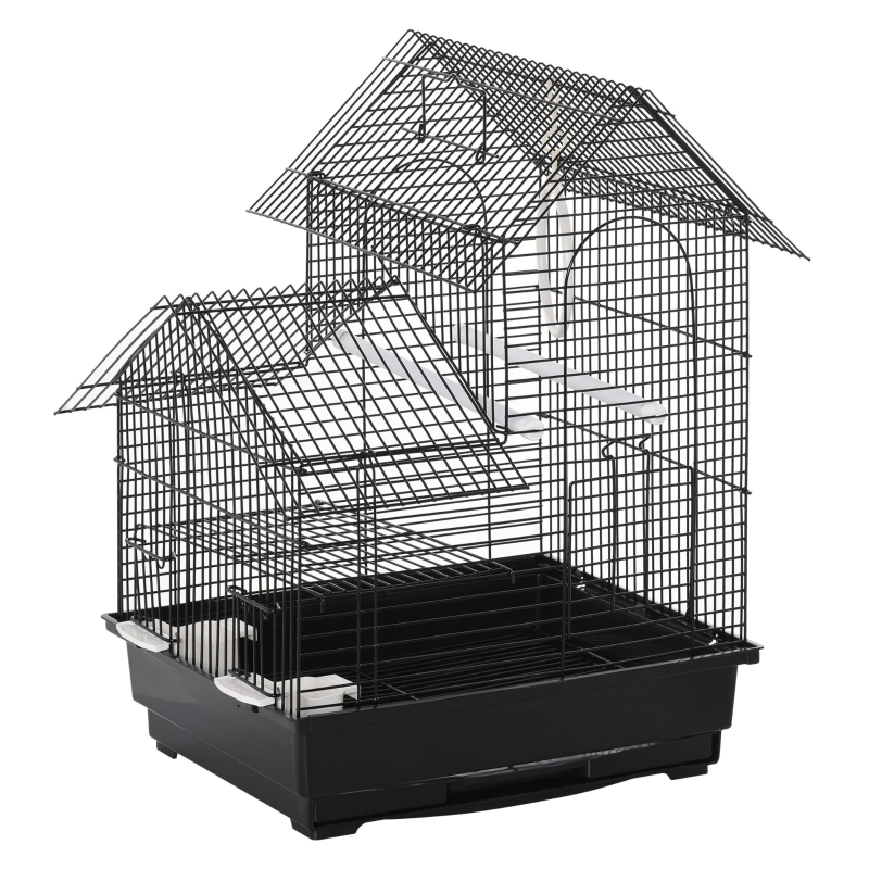 PawHut Metal Bird Cage w/ Plastic Perch Food Container Swing Ring Handle Small Black