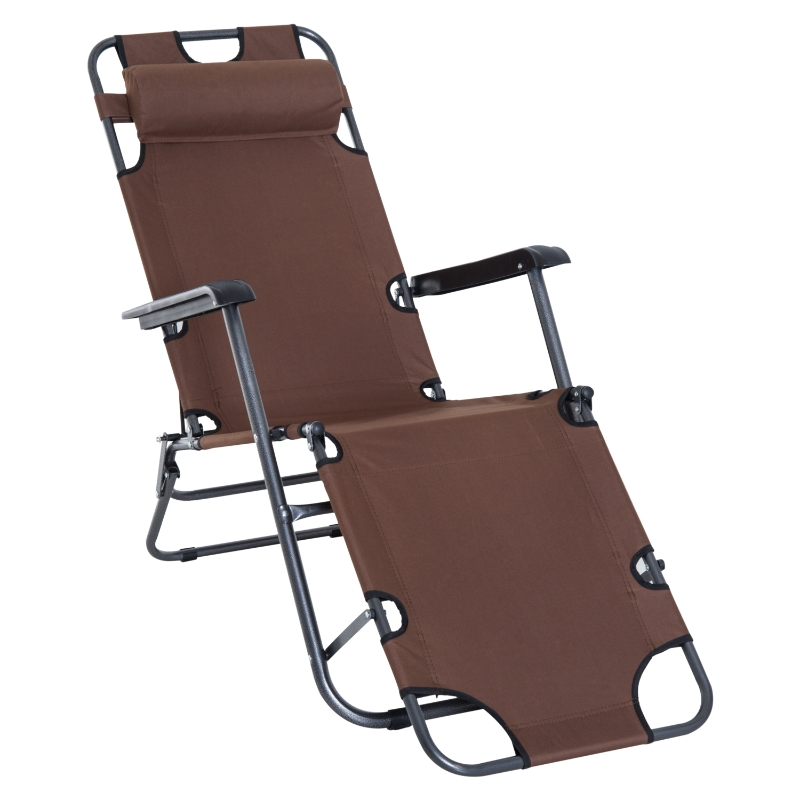 Outsunny Metal Frame 2 In 1 Sun Lounger w/ Pillow Brown