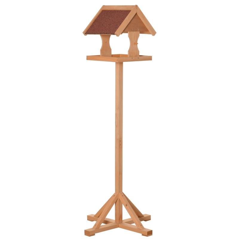PawHut Wooden Bird Feeder Freestanding Cross-shaped Support Feet Weather Resistant