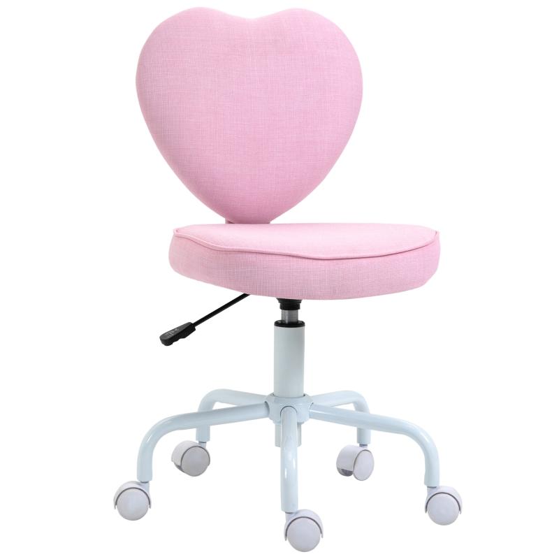 Krzesło obrotowe krzesło komputerowe regulacja wysokości siedziska śliczna różowa tkanina lniana