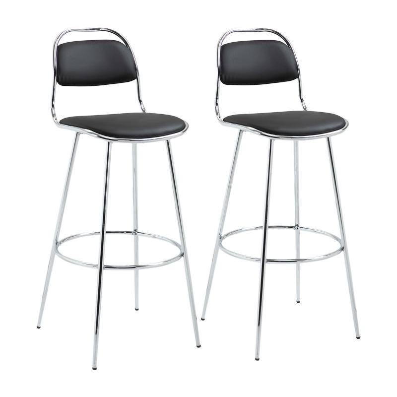 Zestaw 2 elementów stołek barowy stołek kuchenny z oparciem metal pu pianka czarny
