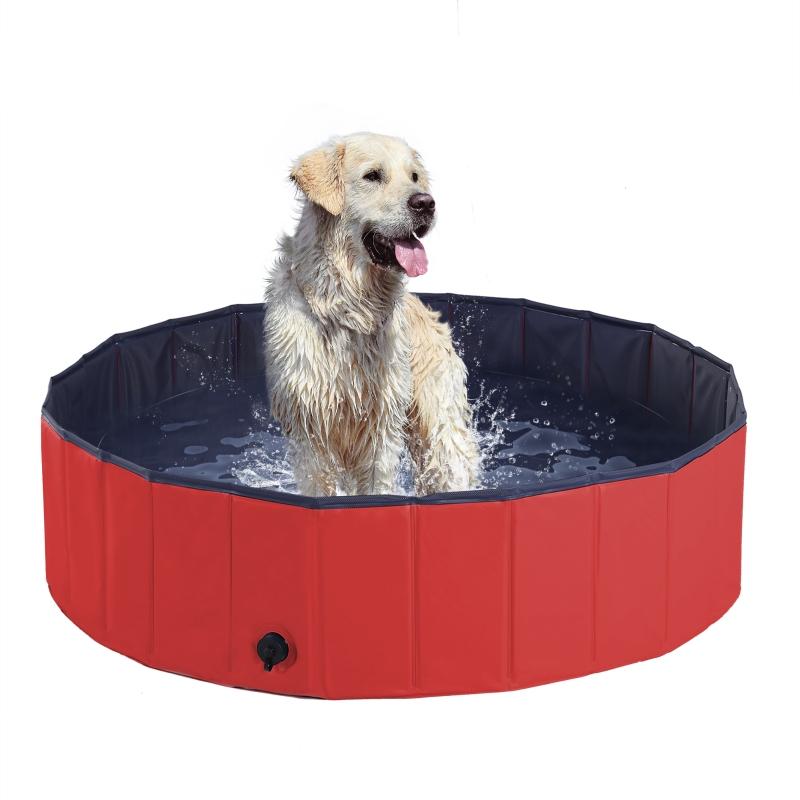 PawHut Pet Swimming Pool, Foldable, 120 cm Diameter-Red