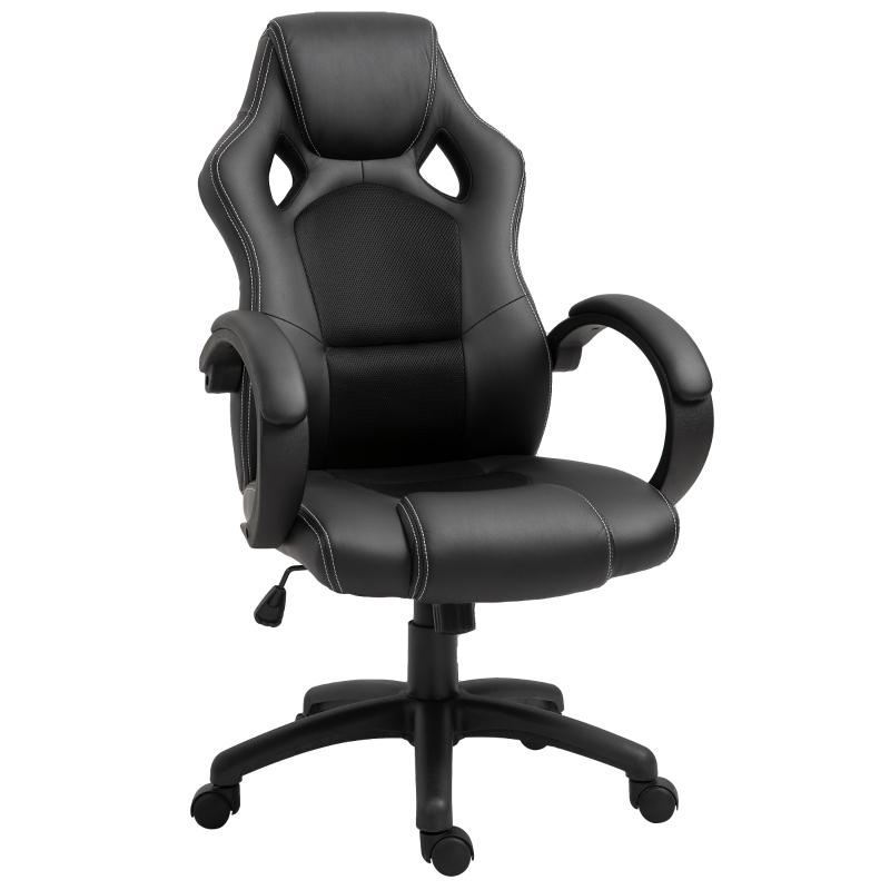 HOMCOM Racing PU Leather Office Chair-Black