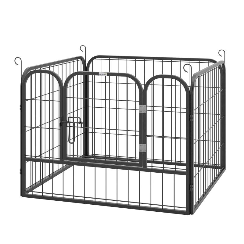 PawHut Heavy Duty 4 Panel Pet Playpen Folding Metal Dog Crate Kennel 82 x 82 x 60 cm