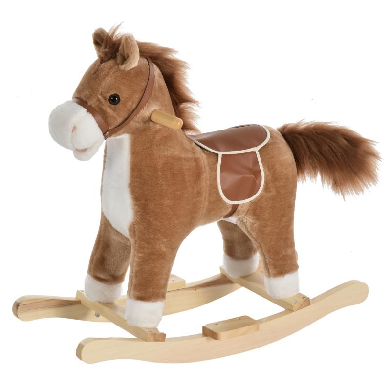 HOMCOM Kids Ride On Plush Rocking Horse w/ Sound Brown