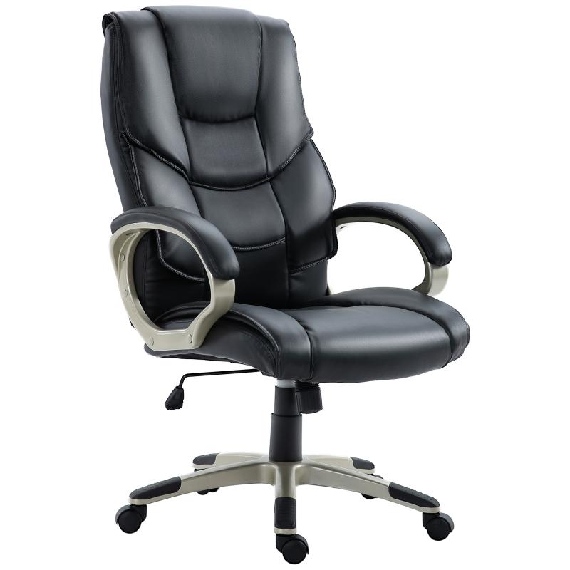 HOMCOM PU Leather Ergonomic Executive Office Desk Chair Black